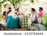 big family having a meal... | Shutterstock . vector #1115763644