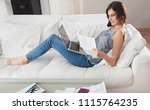 beautiful family woman working... | Shutterstock . vector #1115764235
