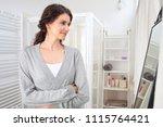 beauty portrait of middle age... | Shutterstock . vector #1115764421