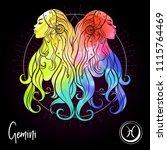 gemini  twins  girls  zodiac... | Shutterstock .eps vector #1115764469
