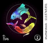 pisces  fishes  zodiac sign.... | Shutterstock .eps vector #1115765351