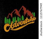adventure. hand drawn lettering ... | Shutterstock .eps vector #1115767949