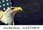 bald eagle and american flag... | Shutterstock . vector #1115770874