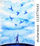 abstract human flying birds... | Shutterstock . vector #1115774141