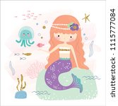 cute mermaid and sea life... | Shutterstock .eps vector #1115777084
