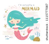 cute mermaid and sea life... | Shutterstock .eps vector #1115777087