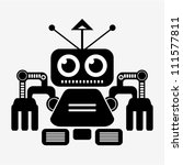 Vector - robot (black and white) - stock vector