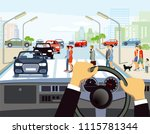 driving in the city | Shutterstock .eps vector #1115781344