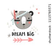 cute indian bear with feathers... | Shutterstock .eps vector #1115785571