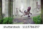 velociraptor pack in a forest ... | Shutterstock . vector #1115786357