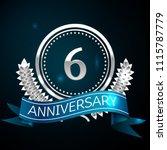 realistic six years anniversary ... | Shutterstock .eps vector #1115787779