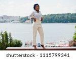 stylish african american... | Shutterstock . vector #1115799341