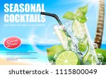 seasonal cocktail mojito drinks ... | Shutterstock .eps vector #1115800049