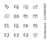movie icons. set of  line icons.... | Shutterstock .eps vector #1115804369