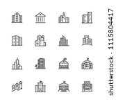 building icons. set of  line... | Shutterstock .eps vector #1115804417