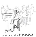 vector art drawing of lonely... | Shutterstock .eps vector #1115804567