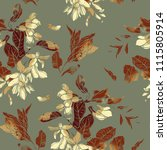 imprints vintage acacia flowers ... | Shutterstock . vector #1115805914