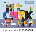 advertising agency personnel... | Shutterstock .eps vector #1115808884