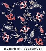 seamless flower and paisley... | Shutterstock .eps vector #1115809364