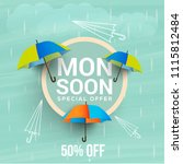happy monsoon season sale... | Shutterstock .eps vector #1115812484