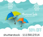 happy monsoon season sale... | Shutterstock .eps vector #1115812514