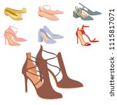 womens shoes flat design vector ... | Shutterstock .eps vector #1115817071