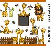 giraffe set digital elements | Shutterstock .eps vector #1115818235