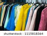 thai hand woven cloth.thai silk ... | Shutterstock . vector #1115818364