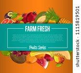 farm fresh fruit poster... | Shutterstock . vector #1115819501