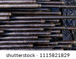 oil drill pipe. rusty drill... | Shutterstock . vector #1115821829
