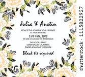 flowers card invitation   Shutterstock .eps vector #1115822927