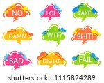 trendy speech bubble colorful... | Shutterstock . vector #1115824289