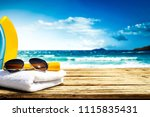 desk of wood with free space... | Shutterstock . vector #1115835431