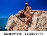 beautiful blond attractive...   Shutterstock . vector #1115835749