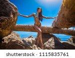 beautiful blond attractive...   Shutterstock . vector #1115835761