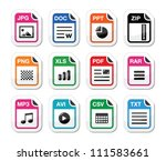 file type icons as labels set   ... | Shutterstock .eps vector #111583661