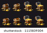 set old pirate chests full of... | Shutterstock .eps vector #1115839304