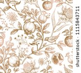 exotic gold flowers  birds and... | Shutterstock .eps vector #1115843711