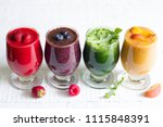 smoothie juice with healthy... | Shutterstock . vector #1115848391