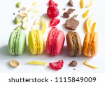 colorful french macarons... | Shutterstock . vector #1115849009