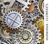 metallic gears background  3d...   Shutterstock . vector #1115853371