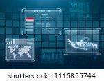 hologram screen displaying... | Shutterstock . vector #1115855744