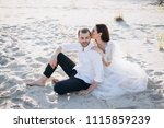 beautiful woman kissing her... | Shutterstock . vector #1115859239
