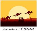 australian desert. silhouette... | Shutterstock . vector #1115864747
