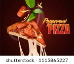 pepperoni pizza with stringy... | Shutterstock .eps vector #1115865227