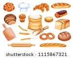 bread watercolor icon of wheat... | Shutterstock .eps vector #1115867321
