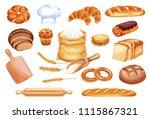 bread watercolor icon of wheat...   Shutterstock .eps vector #1115867321
