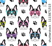 pattern with cute french... | Shutterstock . vector #1115871515