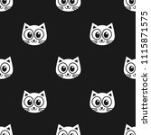pattern with white cats on... | Shutterstock . vector #1115871575