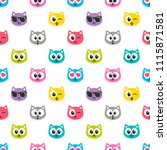 pattern with colorful cat heads ... | Shutterstock . vector #1115871581
